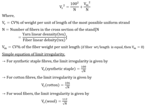 Limit irregularity of yarn eq1