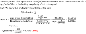 Limit irregularity of yarn eq2