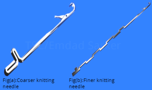 Coarser and Finer knitting needle