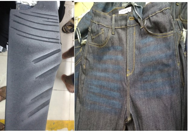 Denim Dry Processes - Whiskering , Laser Whiskering , Hand Scraping, Grinding, Destroy | Machines / Apparatus used in Denim Dry process | whiskering  By pattern| Manual hand scraping | Whiskering  By laser Machine | Textile Study Center | textilestudycenter.com
