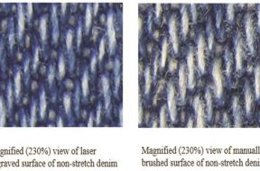 Magnified view of laser faded surface and manually brushed surface